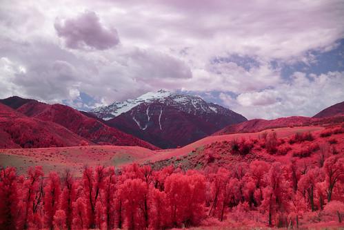 scenic utah wasatchrange mountains infrared landscape