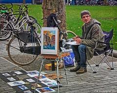 Sidewalk Artist in Rembrandtplein Amsterdam