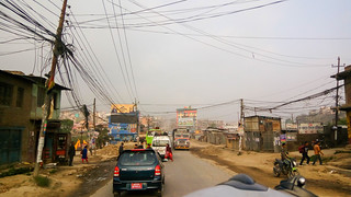 driving out of Kathmandu
