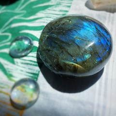 Labradorite glowing in the sun.