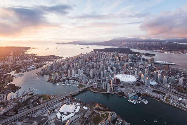 Vancouver Sunset Skyline Aerial