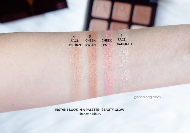 Charlotte Tilbury Instant Look in a Palette Beauty Glow face swatches