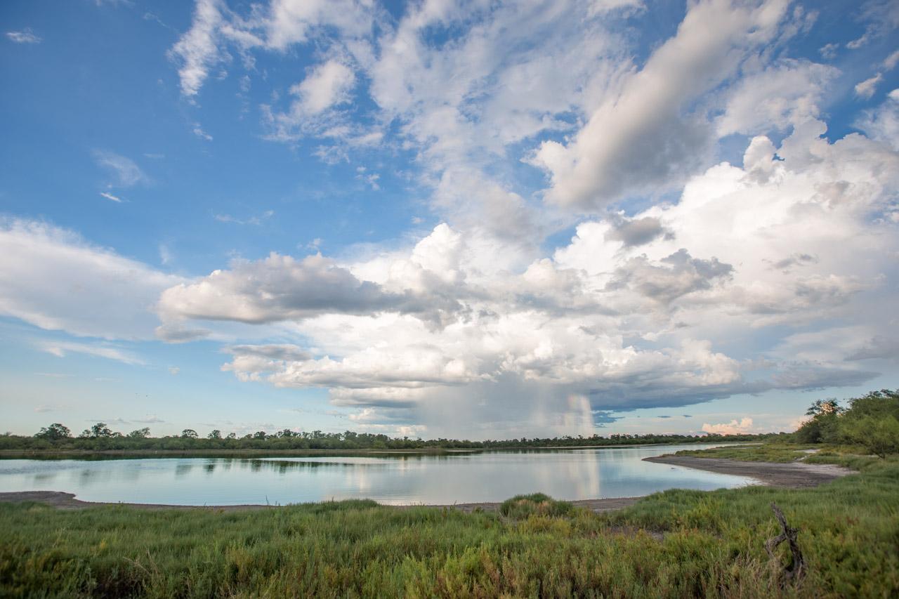 A lo lejos se veían nubarrones y chaparrones durante nuestro recorrido de las lagunas chaqueñas. (Tetsu Espósito).