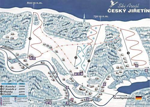 Český Jiřetín - mapa sjezdovek