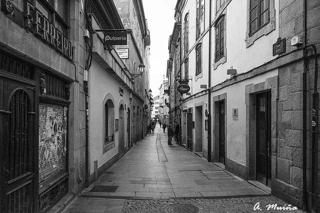 Typical street of bars of the city of Lugo (Spain). Calle t´pica de bares de la ciudad de Lugo (España).