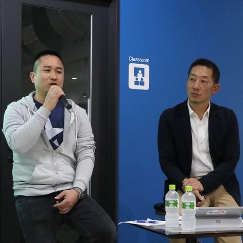 Facebookの日本立ち上げに活躍した児玉太郎さんが、今度はキックスターターの日本立ち上げを担当する、と。 右は、TechShop Japan代表の有坂さん。