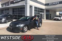 Congratulations Chanice on your #Chevrolet #Cruze from Dennis Celespara at Westside Kia!