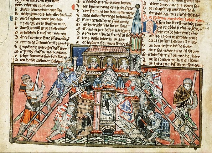 The Crusaders capture Antioch during the First Crusade, from a 14th century manuscript