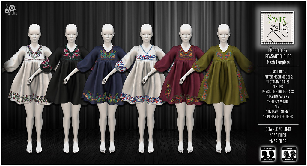 Embroidery Peasant Blouse Mesh Template - SewingLies - SecondLifeHub.com