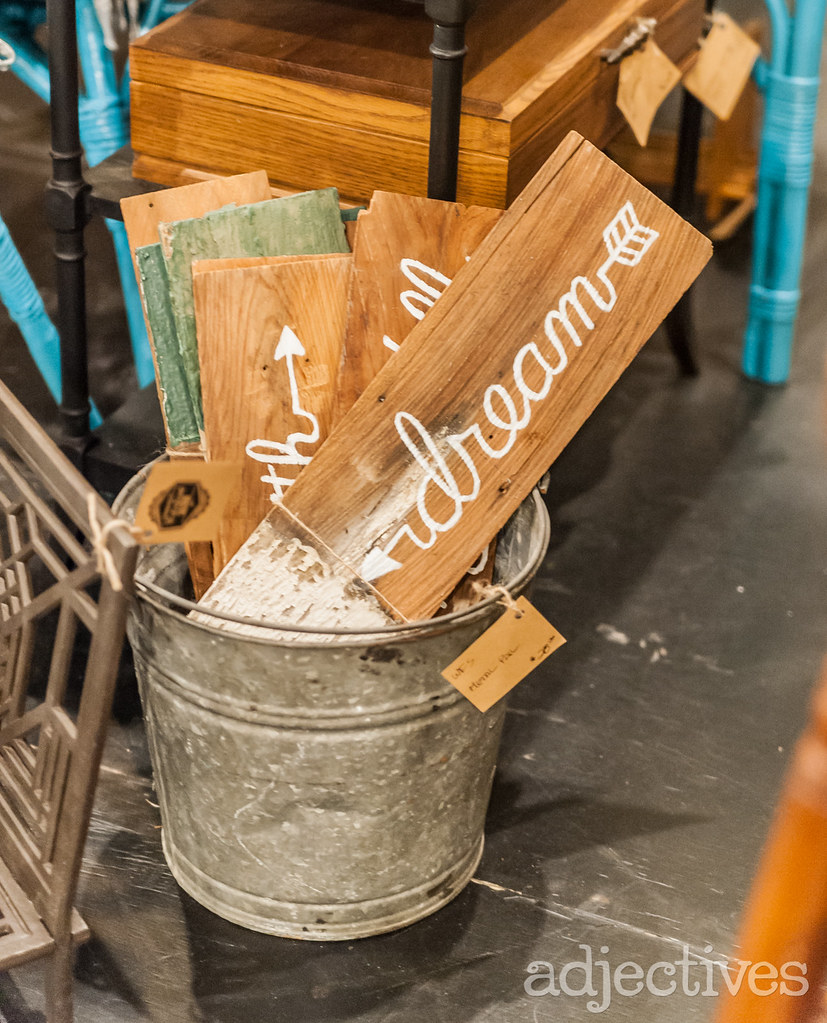 Wooden Signs in Winter Garden by Waterfront Salvage