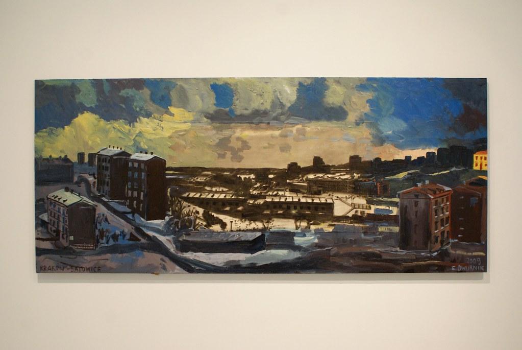 Reprise d'un tableau dans un plus grand tableau : «Batowice» de Dwurnik. Mocak de Cracovie.
