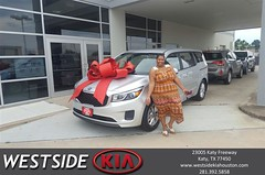 Happy Anniversary to Andrea on your #Kia #Sedona from Antonio Page at Westside Kia!