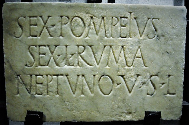 Marble tablet with dedication to Neptune, from Pompeii (end 1st century BC- early 1st century AD) - Epigraphic Collection - Naples, Archaeological Museum