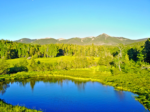 aerial pond mountains colorado reflection landscape morning