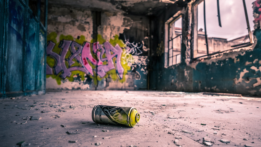 Graffiti in abandoned building, Bucharest, Romania picture