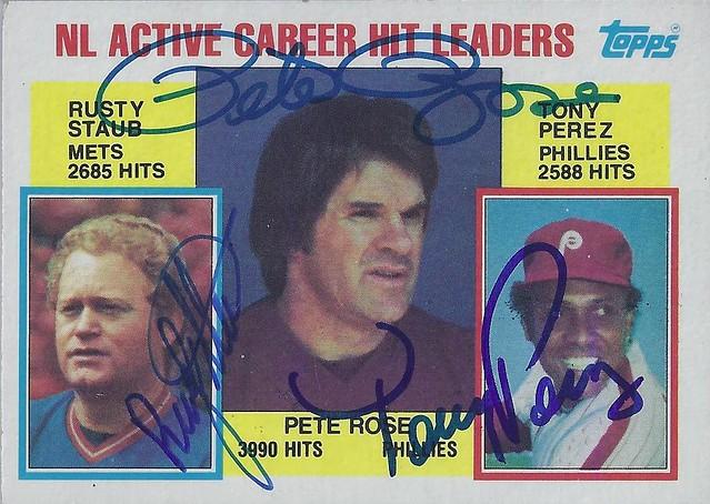 1984 Topps Active Career Hit Leaders #702 - PETE ROSE (3990 Hits) / RUSTY STAUB (2685 Hits) / TONY PEREZ (2588 Hits) - Multi Autographed Baseball Card
