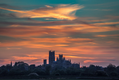 ancient england dawn daybreak old cambridgeshire thefens uk ely europe eastanglia european sunrise