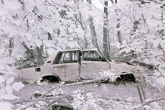 Infra red car wreck. Zalissia Village, Chernobyl