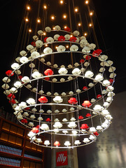 Chandelier made of coffee cups