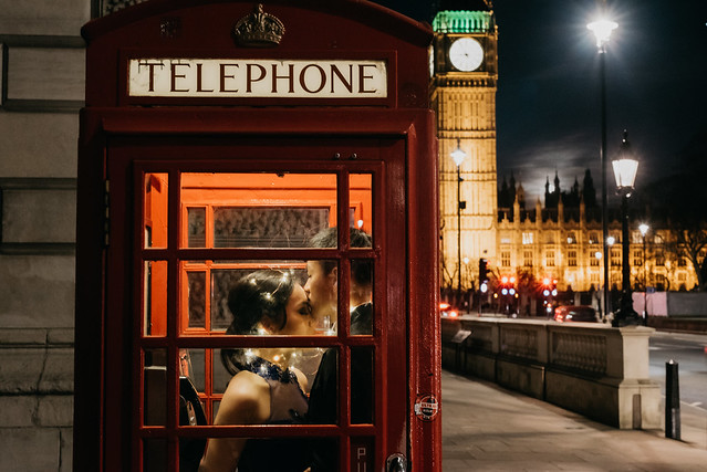 uk, london, big ben, westminister, fairy lights, telephone booth
