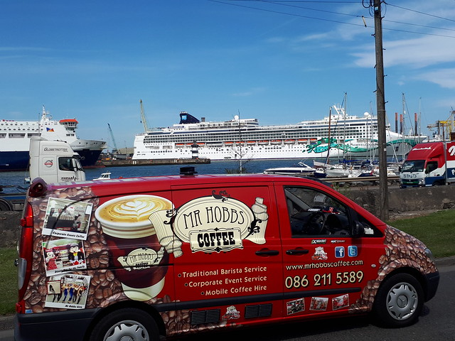 The Coffee Van passing the Norwegian Jade in Dublin Yesterday on a Beautiful Day in the Capital.