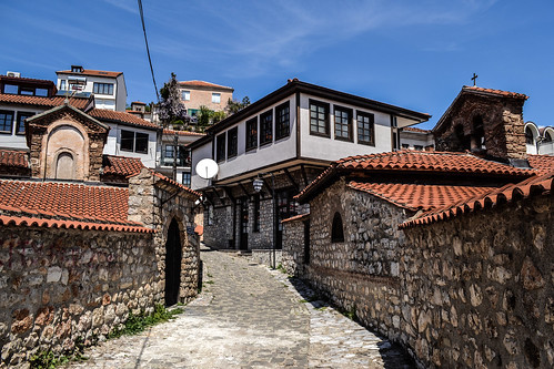 church churches chapel chapels street historic old heritage building buildings architecture blue sky ancient ottoman byzantine downtown city quiet peaceful quaint hill hills empty ohrid macedonia fyrom охрид македонија temple temples perspective angle