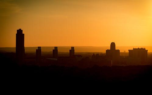 light skyline albany ny landscape orange