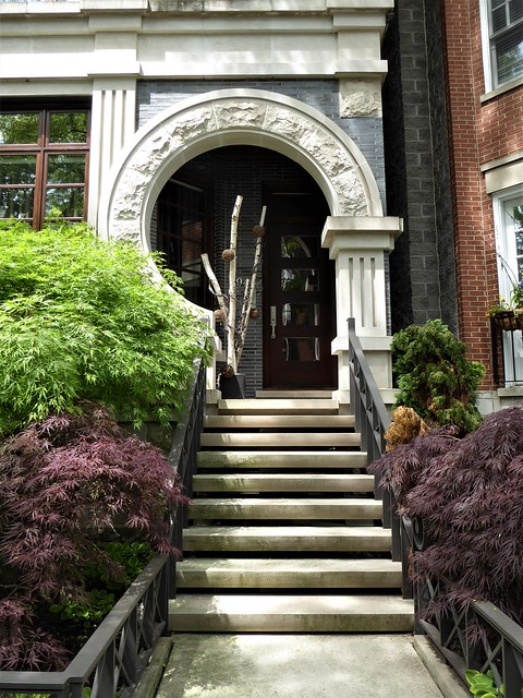Chicago, Old Town Triangle, Hudson Avenue, Residence Entrance with Stairs