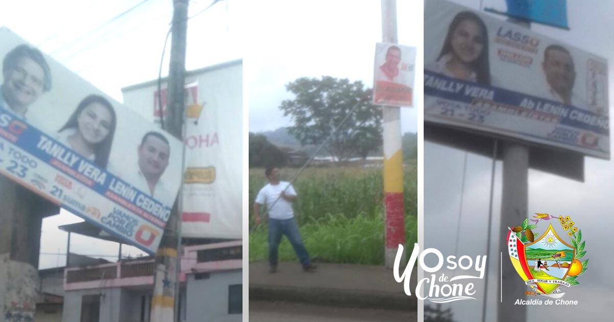 Se retira propaganda electoral en Chone