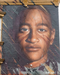 DJ Fussyman Portrait Mural (2016) by Jordit Agoch, Stapleton, Staten Island, New York City