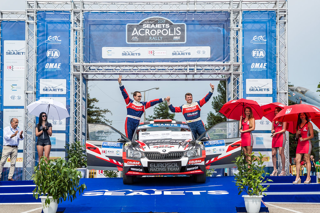 GRZYB Grzegorz (pol) and WROBEL Jakub (pol) podium ambiance during the European Rally Championship 2017 - Acropolis Rally Of Grece - From June 2 to 4 - Photo Thomas Fenetre / DPPI