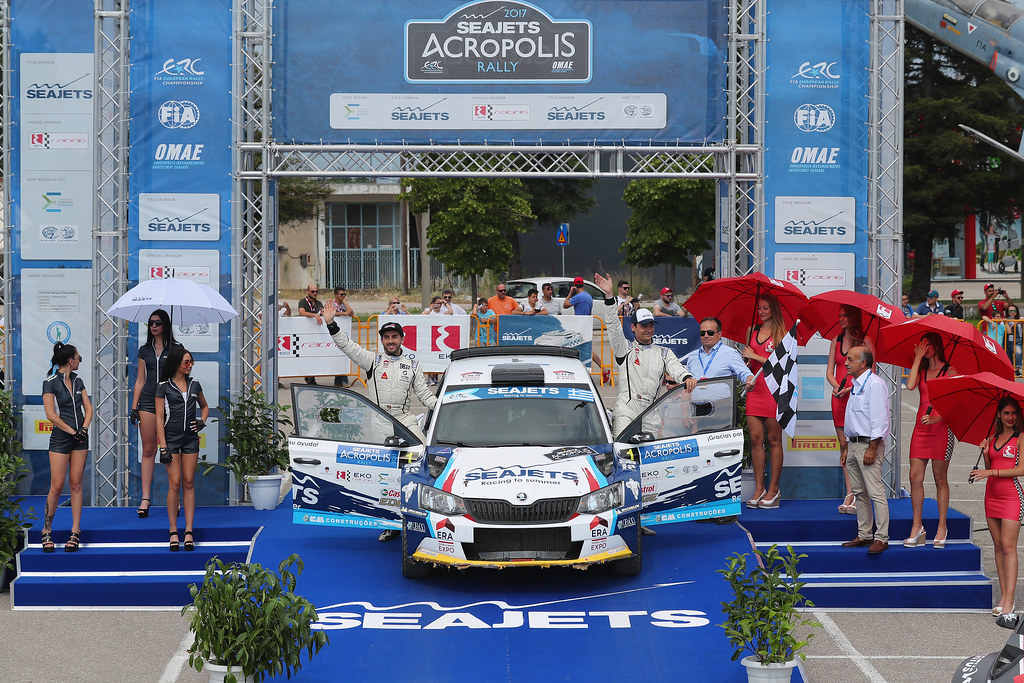 01 MAGALHAES Bruno (prt) and MAGALHAES Hugo (prt) podium ambiance during the European Rally Championship 2017 - Acropolis Rally Of Grece - From June 2 to 4 - Photo Gregory Lenormand / DPPI