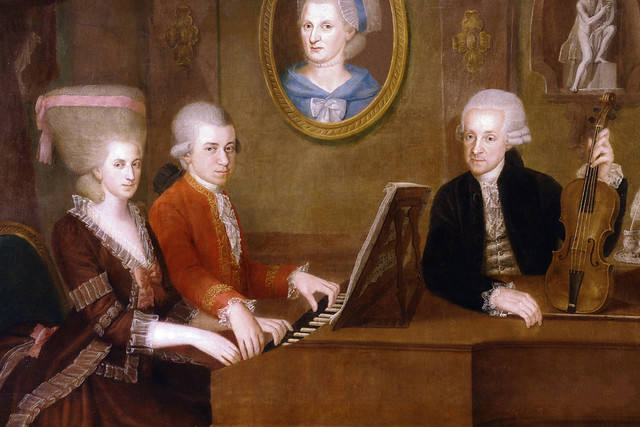 "Family portrait: Maria Anna (""Nannerl"") Mozart, her brother Wolfgang, their mother Anna Maria (medallion) and father, Leopold Mozart by Johann Nepomuk della Croce"