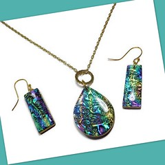 polymer clay brocade necklace & earrings