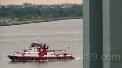 2017 Fleet Week - FDNY 343 Fire Rescue Boat passing the Verrazano-Narrows Bridge, New York City