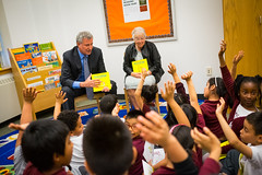 New York City Mayor Bill de Blasio announces free books for 29,000 New York City Children an effort to improve literacy at the Bedford Park Elementary School in the Bronx on Thursday, May 25th, 2017.  Edwin J. Torres. Mayoral Photo Office
