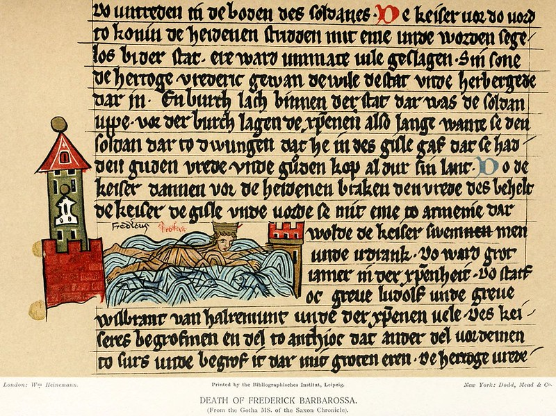 Gotha Manuscript of the Saxon World Chronicle depicting death of Frederick I Barbarossa