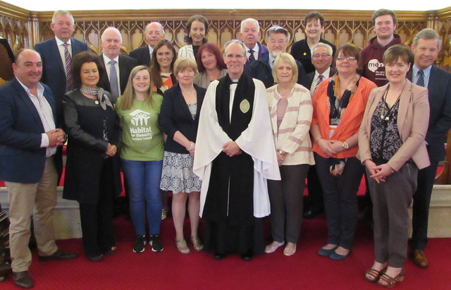 Representatives from 16 charities who each received cheques of £600 from Rossorry Parish Church as part of their fundraising programme during their 175th anniversary year. Included are the Rector, Revd Canon Ian Ellis (front centre) and Mr George Elliott