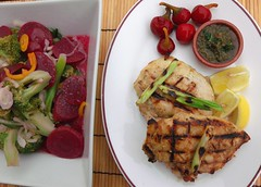 Grilled Chicken Breast With Red Beet/Broccoli Salad And Chimichurri