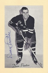 1944-63 NHL Beehive Hockey Photo / Group II - DEAN PRENTICE (Left Wing) - Autographed Hockey Card (New York Rangers) (#354A / Home Sweater / Dark)