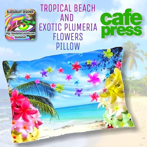 SOLD! #Tropical #Beach & #Exotic #Plumeria #Flowers #Pillow ? #Design by #BluedarkArt ? http://www.cafepress.com/+tropical_beach_and_exotic_plumeria_flowers_pillow,1351884332 ? @cafepressinc ? #homeaccessories #ho