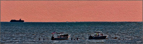 apollobeach art boating boats canvas cruiseship d300 dusk florida holiday imran imrananwar memorialdayweekend nikon painting panorama photoshop saintpetersburg ship silhouette sunset tampabay water waves weekend