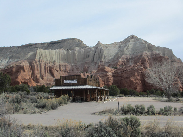 Store building amid cliffs, Kodachrome Basin State Park, Utah