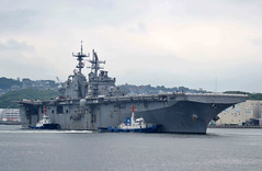 USS Bonhomme Richard (LHD 6) pulls away from the pier at Fleet Activities Sasebo, June 1. (U.S. Navy/MC2 Jordan Crouch)