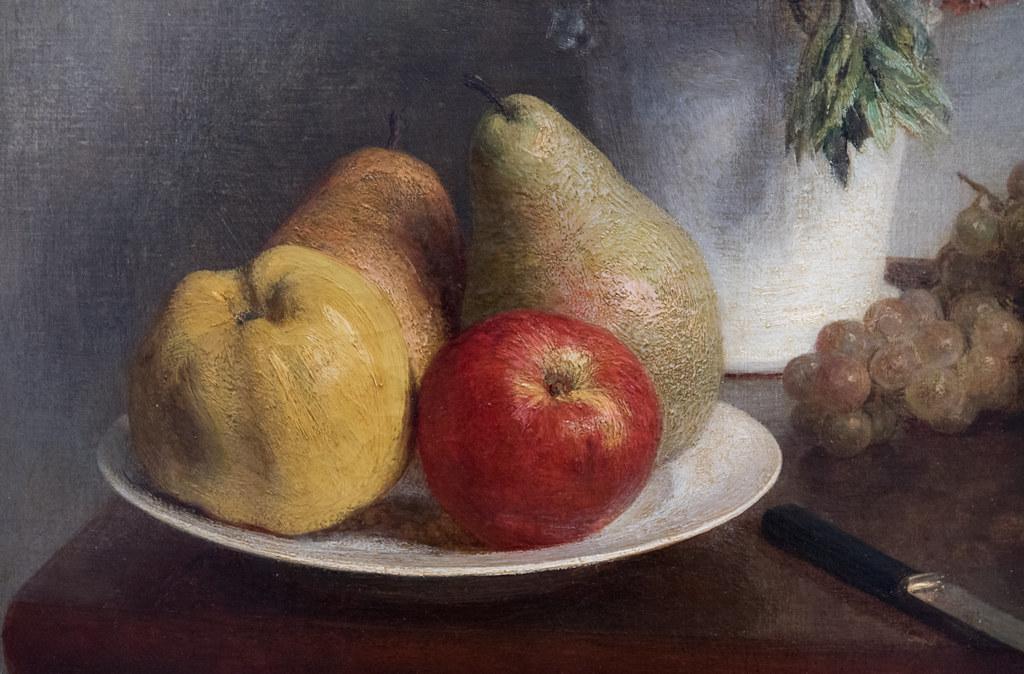 """Henri Fantin-Latour (1836-1905) """"Fleurs et fruits"""" dét. (1865, huile sur toile) - Exposition """"Fantin-Latour. A fleur de peau"""" (18.III.2017-18.VI.2017) au musée de Grenoble (Isère, France)"""