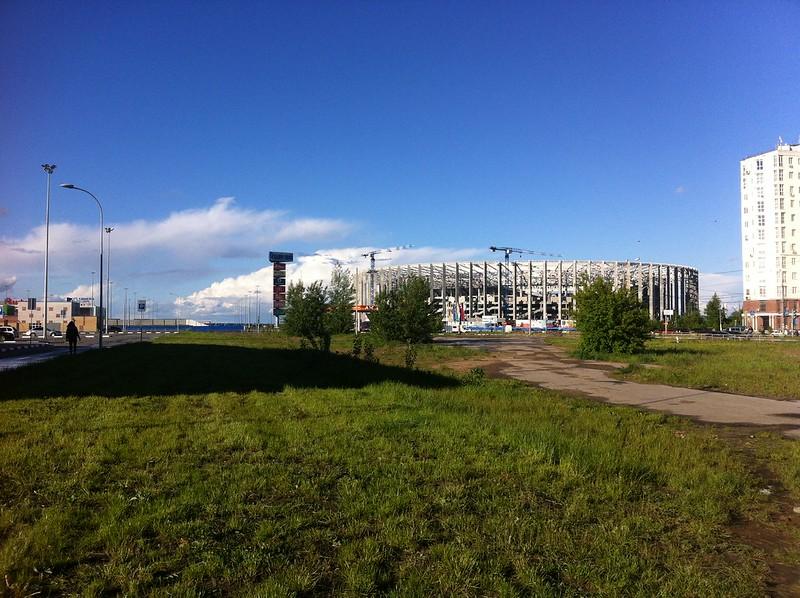 Строительство стадиона к FIFA World Cup 2018 Russia в Нижнем Новгороде за год до чемпионата мира по футболу