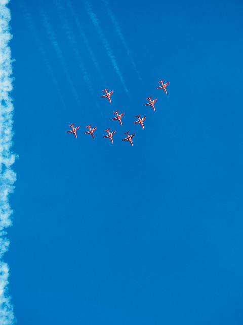 Red Arrows, Olympus E-M5MarkII, Lumix G Vario 100-300mm F4.0-5.6 Mega OIS