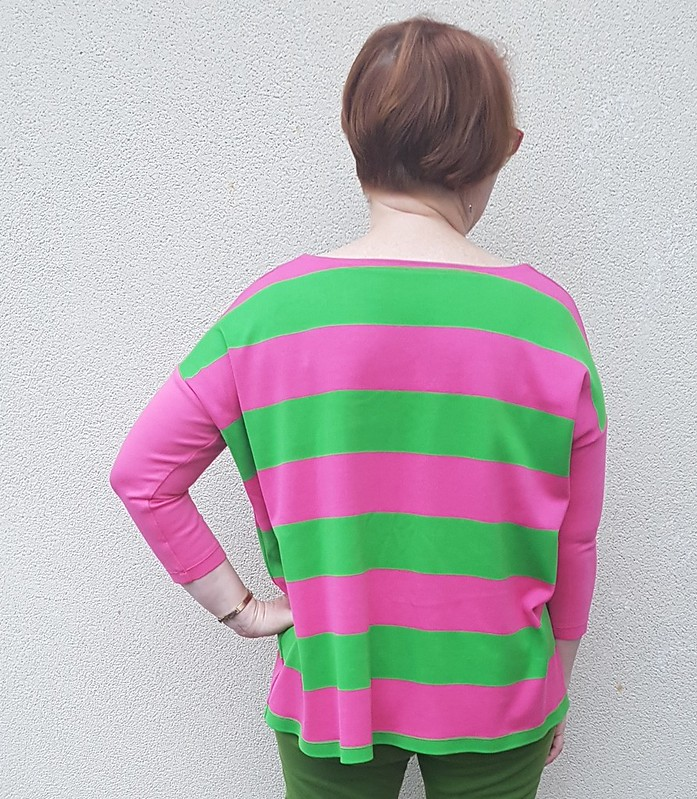 Tessuti Mandy boat tee in striped rugby knit with ponte sleeves