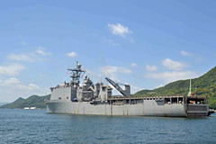 USS Ashland (LSD 48) departs Fleet Activities Sasebo, May 26. (U.S. Navy/MC2 Jordan Crouch)