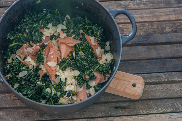 Lemony Kale with Smoked Trout & Almonds